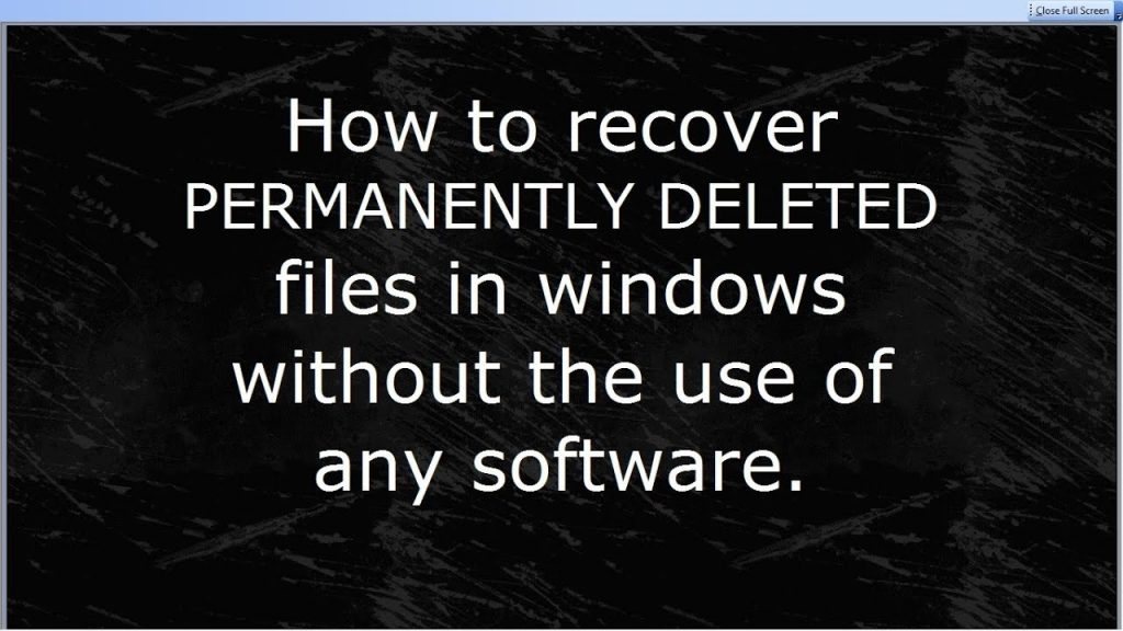 Recover permanently deleted files without software in WINDOWS 7 (Subtitles – English/Hindi)